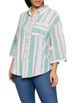 Plus Size Striped Linen Shirt - 8465056123509