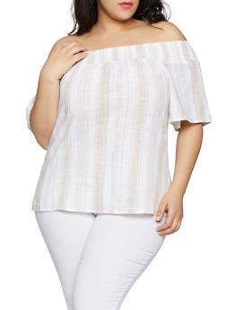 fcf88fad4d36c Plus Size Striped Linen Off the Shoulder Top - 8465056125084