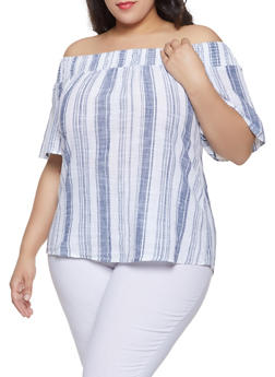 Plus Size Striped Off the Shoulder Linen Top - 8465056125085