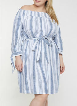 Plus Size Striped Off the Shoulder Linen Dress - 8465056125163