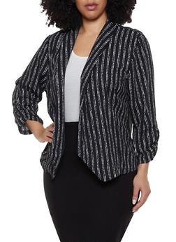 Plus Size Striped Ruched Sleeve Blazer - 8470062705528