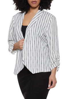 Plus Size Striped Ruched Sleeve Blazer - 8470062705528