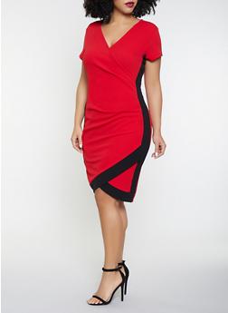 Plus Size Contrast Trim Faux Wrap Dress - 8475015990212