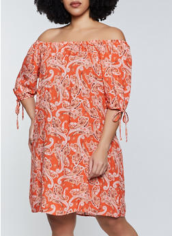Plus Size Paisley Tie Sleeve Off the Shoulder Dress - 8475020621946