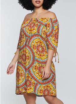 Plus Size Off the Shoulder Printed Dress - 8475020622946