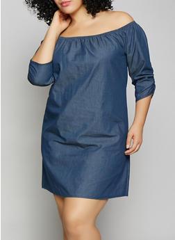 Plus Size Denim Off the Shoulder Dress - 8475020624189