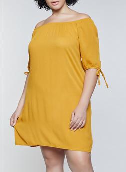 Plus Size Gauze Knit Off the Shoulder Dress - 8475020627522