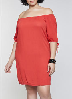 Plus Size Gauze Knit Off the Shoulder Dress - 8475020627522