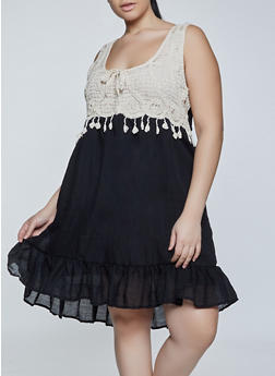 Plus Size Crochet Tie Detail Dress - 8475030841802