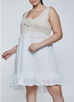 Plus Size Crochet Tie Detail Dress - 8475030841802