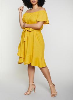 Plus Size Ruffled Off the Shoulder Linen Dress - 8475051068390
