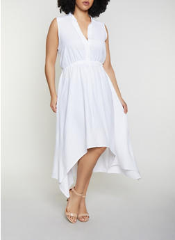 High Low White Plus Size Dresses