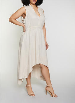 Plus Size High Low Half Button Linen Dress - 8475051068402