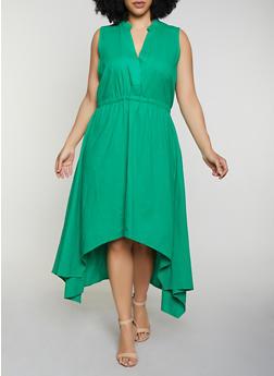Plus Size High Low Half Button Linen Dress - 8475051068402