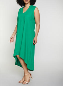 Plus Size High Low Linen Dress - 8475051068403