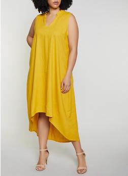 Plus Size High Low Linen Dress - 8475051068403