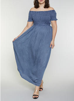 Plus Size Chambray Off the Shoulder Maxi Dress - 8475056120615