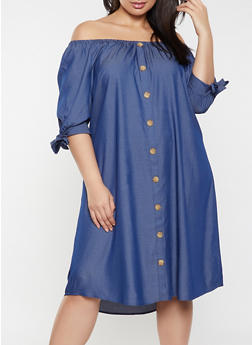 Plus Size Off the Shoulder Button Chambray Dress - 8475056122062