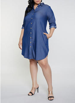 Plus Size Chambray Button Front Shirt Dress - 8475056126165