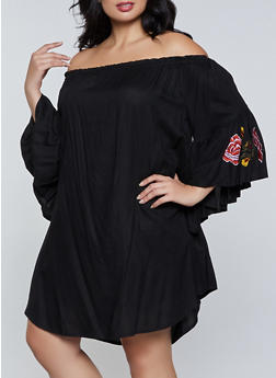 Plus Size Embroidered Sleeve Off the Shoulder Dress - 8475061638193