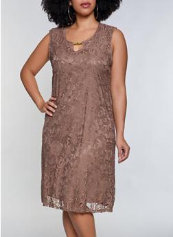 Plus Size Lace Dress - 8475062701009