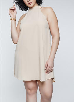 Plus Size Crepe Knit Shift Dress - 8475062702787
