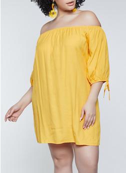 Plus Size Off the Shoulder Linen Dress - 8475062702790