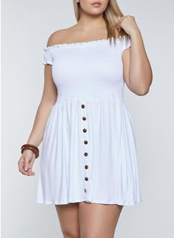 Plus Size Off the Shoulder Smocked Dress - 8475062703203