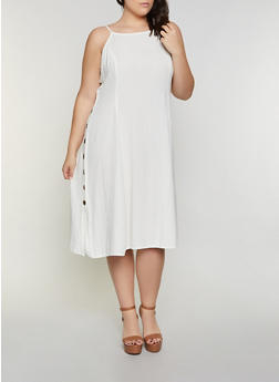 Plus Size Side Button Cami Dress - 8475063509200