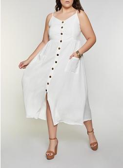 Plus Size Button Front Cami Dress - 8475063509201