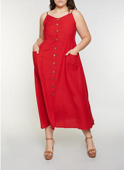 Plus Size Button Front Cami Dress - 8475063509201