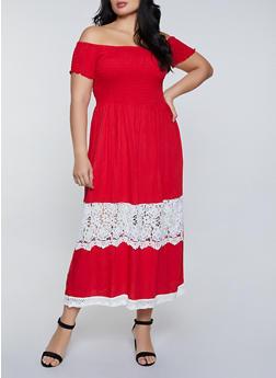 Plus Size Crochet Detail Off the Shoulder Maxi Dress - 8475063509204