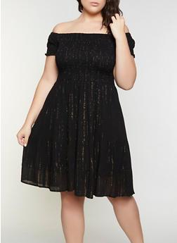 Plus Size Smocked Off the Shoulder Babydoll Dress - 8475063509210