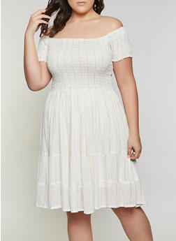 Plus Size Smocked Off the Shoulder Babydoll Dress - 8475063509210