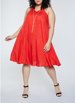Plus Size V Neck Trapeze Dress with Necklace - 8475063509217