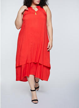 Plus Size Solid Tiered High Low Dress - 8475063509218