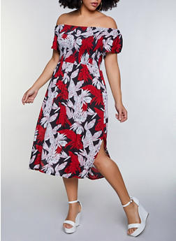 Plus Size Floral Smocked Off the Shoulder Dress - 8475064460543