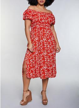 Plus Size Floral Smocked Off the Shoulder Dress - 8475064460543