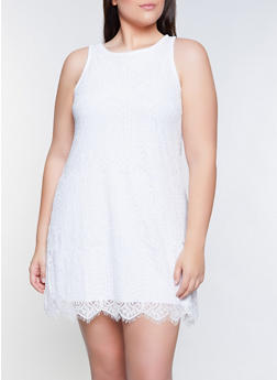 Plus Size Lace Trapeze Dress - 8475064460608