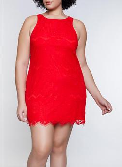 Plus Size Lace Trapeze Dress - 8475064460608