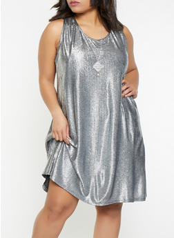 Plus Size Metallic Textured Knit Dress with Necklace - 8475065241384