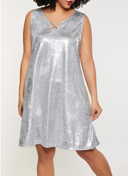 Plus Size Metallic Foil Burnout Dress - 8475065241509