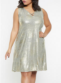 Plus Size Metallic Foil Burnout Dress - 8475065241509