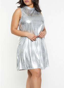 Plus Size Foil Burnout Shift Dress - 8475065241533