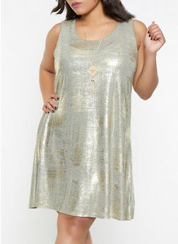 Plus Size Foil Burnout Dress with Necklace - 8475065243846