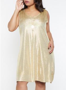 Plus Size Foil Burnout Dress with Necklace - 8475065243846