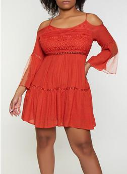 Plus Size Cold Shoulder Mini Dress - 8475074731102
