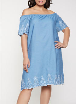 Plus Size Embroidered Trim Off the Shoulder Dress - 8475074734405