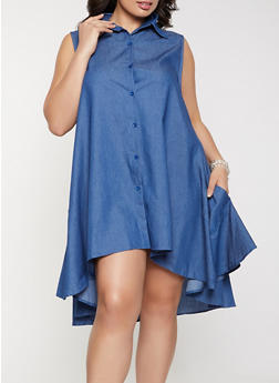 Plus Size Button Front High Low Shirt Dress - 8475074735526