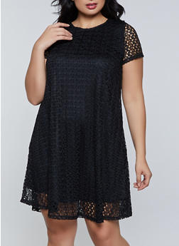 Plus Size Lace Swing Dress - 8475075221045